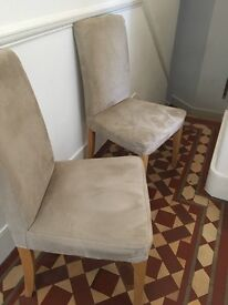 Ikea Kitehen Chairs Oak Veneer with fitted Beige covers