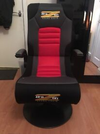 Black BraZen Bluetooth Surround Sound Gaming Chair PS4 Xbox One 360 Foldable UK