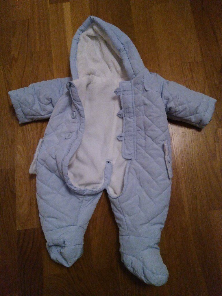 Newborn & 0-3 months Blue quilted snow suits