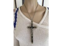 """antique nuns Italy catholic 5.5"""" large cross, heavy silver HM chain"""