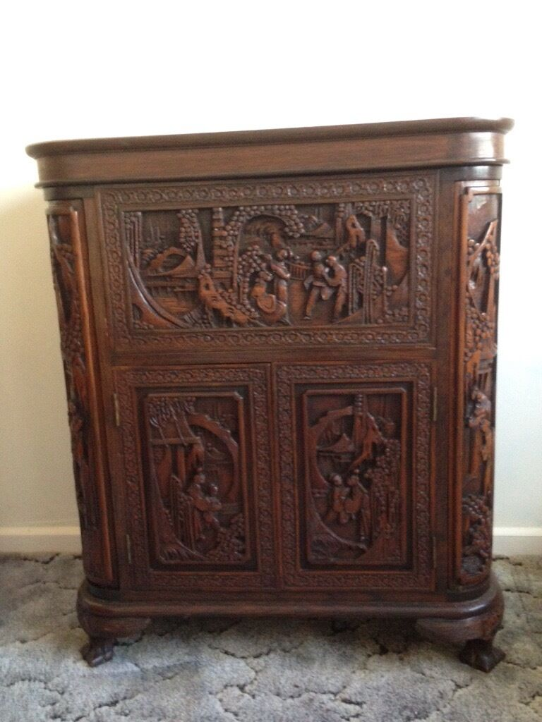 Chinese wooden carved drinks cabinet in holyhead isle for Oriental wood carved furniture