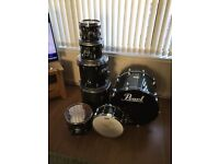 Pearl masters 7 piece drum kit,maple wood in emerald green fade,very good condition.