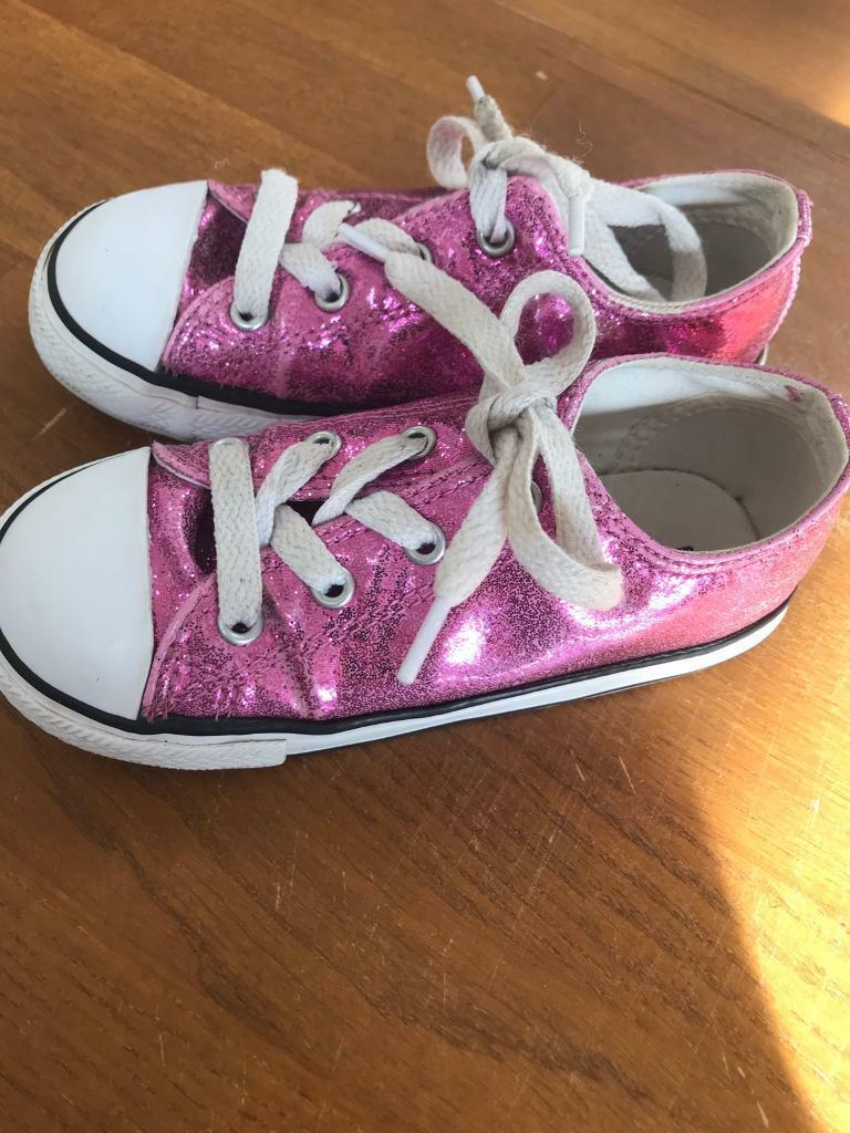 21a8e3767a7c Girls glitter converse pink uk 9