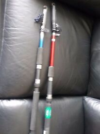 2 telescopic spinning rods