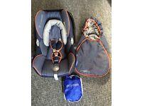 Maxi Cosi CabrioFix car seat, footmuff and rain cover