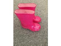Pink sparkle wellies size 5 infant