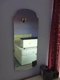 Retro 1940's Wall Mirror. 38cm wide, 92 cm tall.