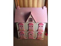 ELC Rosebud Cottage Wooden Dolls House with furniture