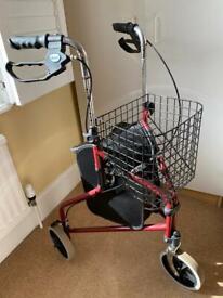 Drive three wheel walking aid with basket