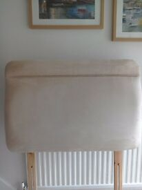 Stone colour suede effect fabric covered single headboard in immaculate condition REDUCED