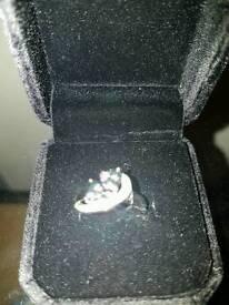 Mystic opal heart shaped ring