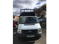 REDUCED TO CLEAR 2009 59 FORD TRANSIT 2.4 DROP SIDE TIPPER TRUCK 350 SRW RWD