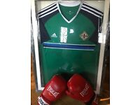 Signed Euro 2016 jersey & signed boxing gloves by Carl Frampton