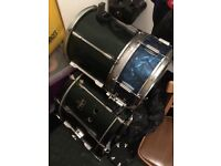 Peal Export Green kit - with blue snare and modified low tom / kick drum, and full kick