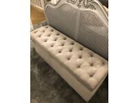 Grey fabric ottoman, used for sale  Middlesbrough, North Yorkshire