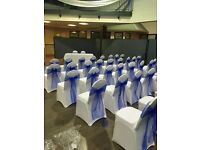 Chair covers 50 p sashes 49 p set up free for weddings christenings birthdays ect stunning