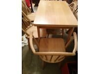 ERCOL BLONDE EXTENDING TABLE & FIVE ERCOL CHAIRS