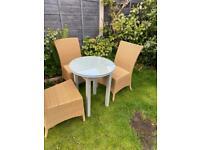 Rattan outdoor set 3 bramblecress chairs & glass top tablep