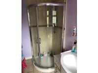 En Suite Bathroom suite- Towel Radiator, Sink ,taps and vanity unit, toilet, 900mm quad shower door