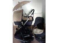Bugaboo Camelean Pram, parasol, foot muff, 2 X rain covers & Maxi Cosi Pebble car seat