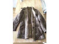 Vintage Shearling Sheepskin Coat Mens Jacket (Light Brown)