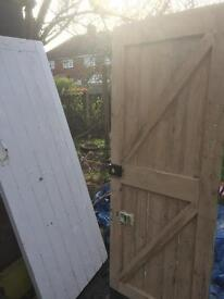 Two Strong wooden shed/outhouse doors