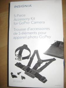 Insignia Accessory Kit for GoPro Camera / Camcorder. Chest and Head Strap. Pouch. Thumb Screw. J Hook. Go Pro Hero. NEW