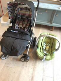 Mamas and Papas Solo Denim Buggy and Cybex Aton Car seat