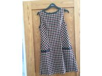 Check Shift Dress with leather trim by Next. Nearly New/Hardly worn. Size 8