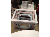 Beautiful Shabby Chic Nest of Tables £40 slight scratches on glass but they still look beautiful.