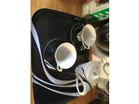 Tea pot and 2 cups and saucers