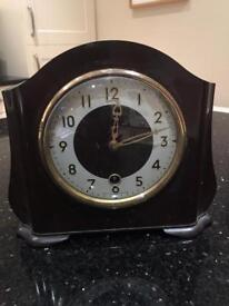 Smiths antique mahogany self wind mantle clock