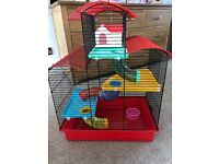 3 storey hamster cage good condition just a few bars that have been gnawed at