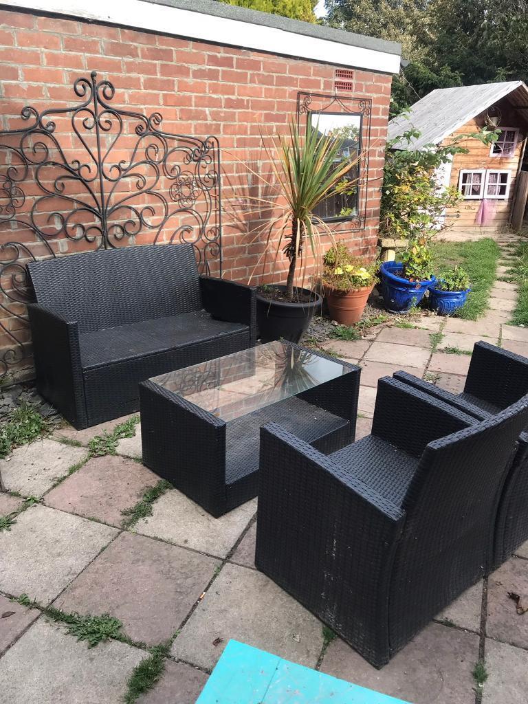 4 piece black glass rattan garden patio furniture newcastle