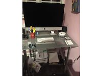Glass and silver Computer desk