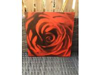 Wooden Painting Print of Red Rose