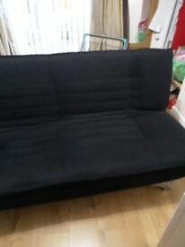 Solid black sofa bed