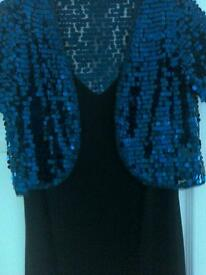 Black dress M&S size 12 + blue shrug size 12 .