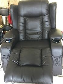 Two leather reclining massage sofa chairs