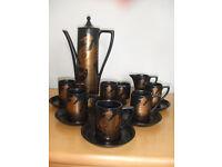 Black / Gold Phoenix Coffee set by Portmeirion 15 piece