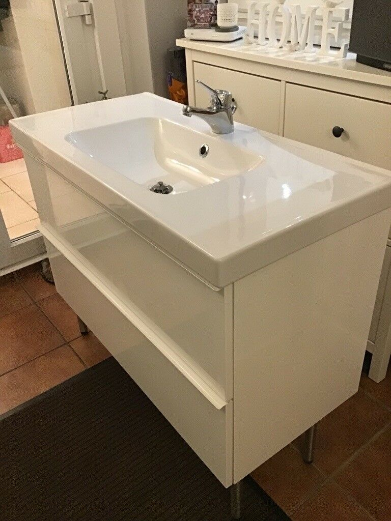 Ikea Sink And Vanity Unit Odensvik Hardly Used Complete With Mixer Tap