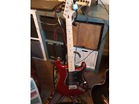 Westfield Solid Body Electric Guitar 4/4 Metallic Red with Black scratchplate