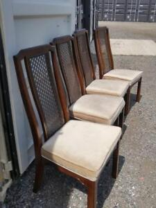 Oakville Set of 4 Dining Chairs Wood Velvet Wicker Made in Canada Vintage Solid Strong Comfortable High Backs Dark Brown