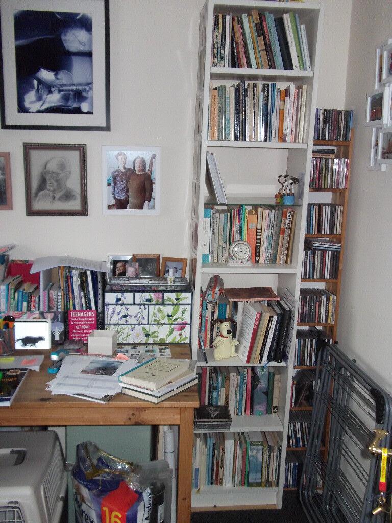 Ikea White Narrow Bookcase 1 2 A Billy 6 Shelves Plus