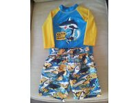 Boy's swimwear to fit age 2/3 years - long sleeved top and shorts