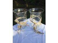 2x hurricane glass vases