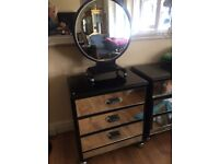 Art deco chest of drawers and matching mirror