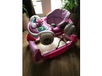 Baby walker pink with music and light car coupe foldable