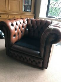 Tan Chesterfield Club Chair. Needs TLC