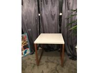 Square white desk with wooden legs. Free to collect